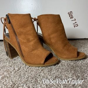 Peep toe tie up ankle booties - only worn once